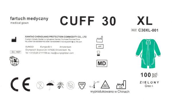 Fartuch medyczny CUFF 30 XL-etykieta