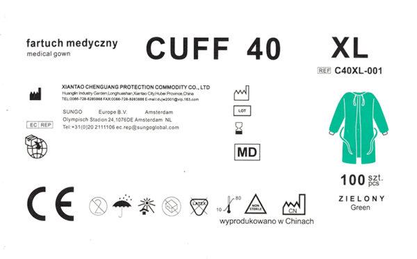 fartuch medyczny CUFF40 XL-etykieta