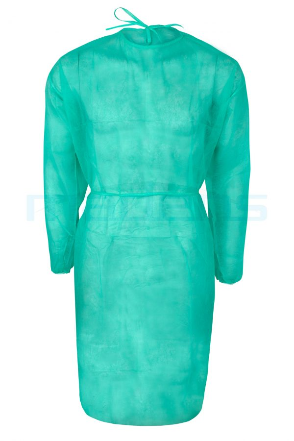 fartuch jednorazowy fizelinowy medyczny z włókniny polipropylenowej z gumką