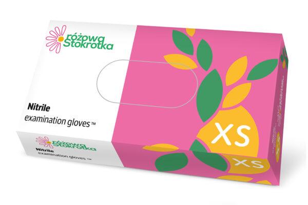 Rękawiczki nitrylowe jednorazowe Różowa Stokrotka_XS