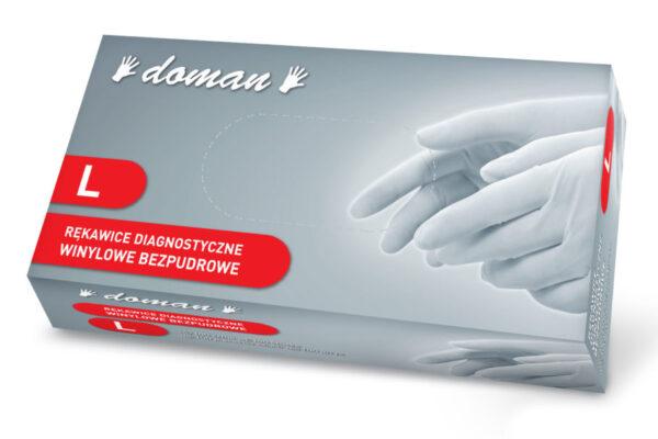 rękawiczki winylowe bezpudrowe doman L