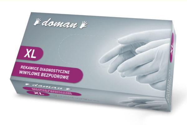 rękawiczki winylowe bezpudrowe doman XL